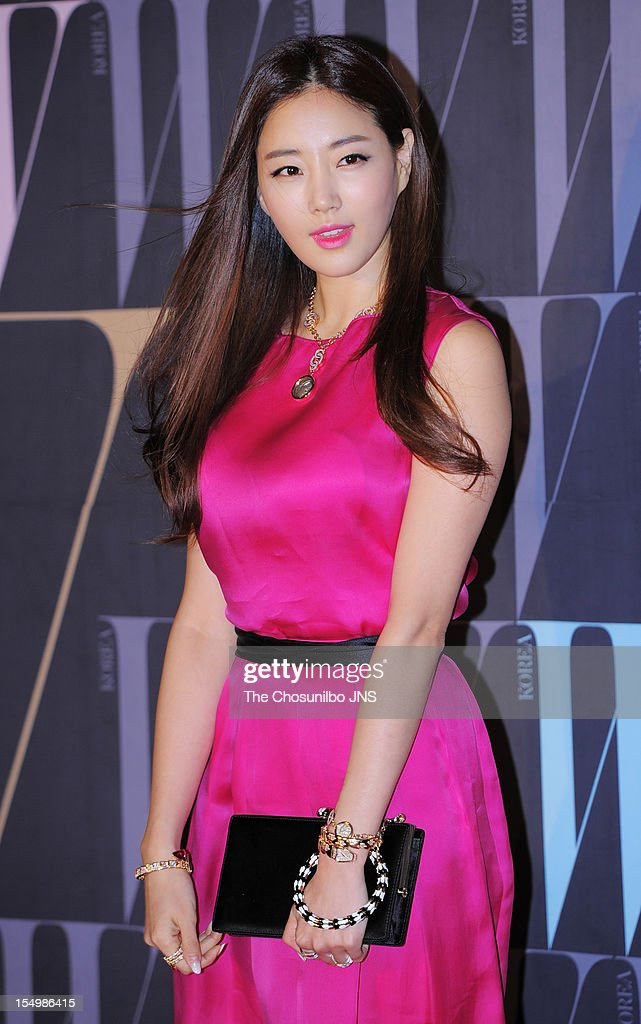 Kim SaRang poses for photographs upon arrival duing the 7th Breast Cancer Campaign 'Love Your W' at Fradia on October 18 2012 in Seoul South Korea