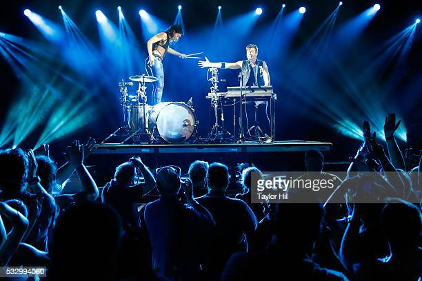 Kim Schifino and Matt Johnson of Matt and Kim perform during the 2016 Hangout Music Festival Kickoff Party on May 19 2016 in Gulf Shores Alabama