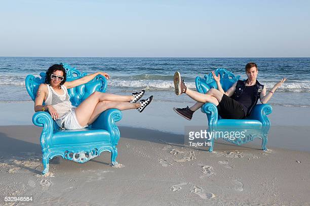 Kim Schifino and Matt Johnson of Matt and Kim pose for a portrait on the Gulf of Mexico during the 2016 Hangout Music Festival Kickoff Party on May...