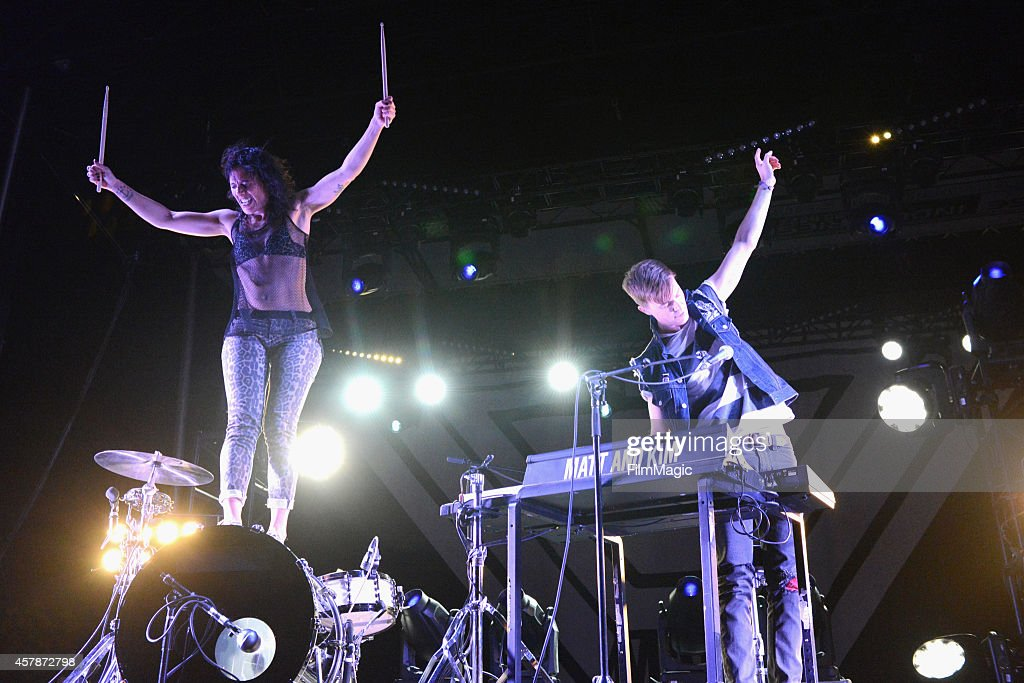 Kim Schifino (L) and Matt Johnson of Matt & Kim perform onstage during day 2 of the 2014 Life is Beautiful festival on October 25, 2014 in Las Vegas, Nevada.