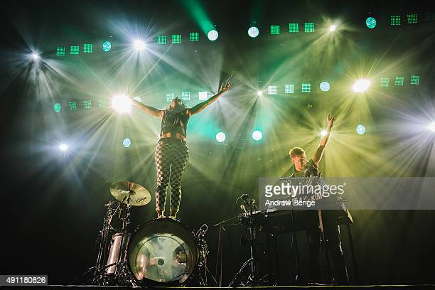 Kim Schifino and Matt Johnson of Matt Kim performs on stage at First Direct Arena on October 3 2015 in Leeds England