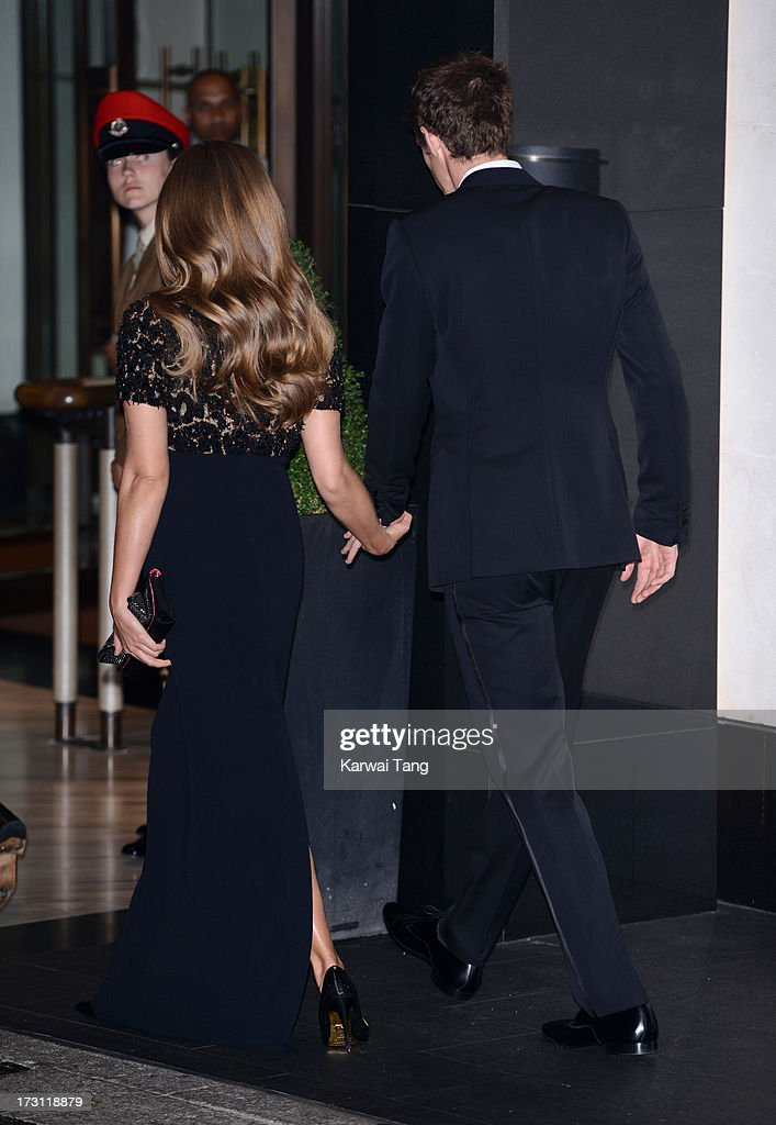 Kim Sears and Andy Murray arrive for the Wimbledon Champions Dinner held at the InterContinental Park Lane Hotel on July 7, 2013 in London, England.