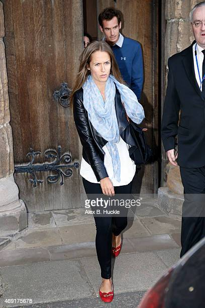 Kim Sears and Andy Murray seen leaving Dunblane Cathedral after a rehearsal the day before their wedding on April 10 2015 in Dunblane Scotland