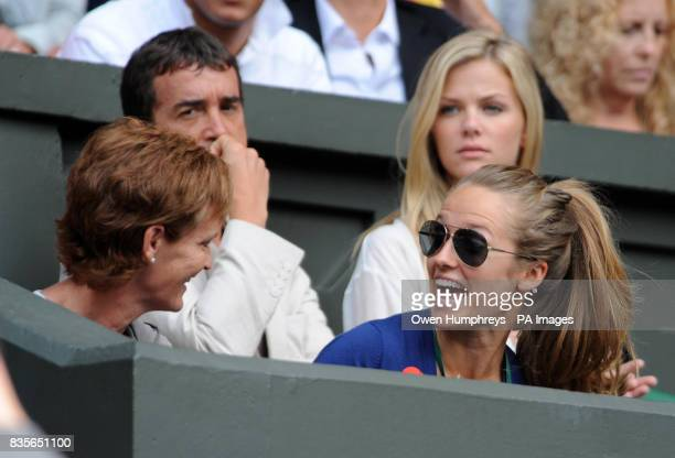 Kim Sears and Judy Murray watch Andy Murray in action during the Wimbledon Championships at the All England Lawn Tennis and Croquet Club Wimbledon...