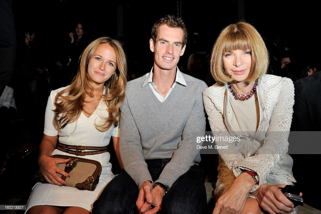Kim Sears, Andy Murray and Anna Wintour attend the Burberry Spring Summer 2013 Womenswear Show Front Row at Kensington Gardens on September 17, 2012 in London, England.