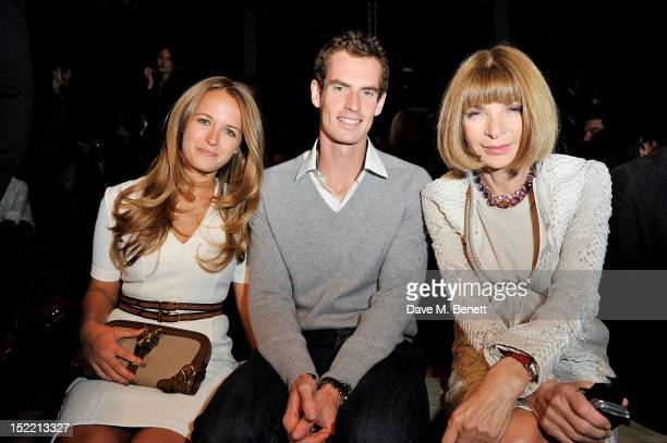 Kim Sears Andy Murray and Anna Wintour attend the Burberry Spring Summer 2013 Womenswear Show Front Row at Kensington Gardens on September 17 2012 in...