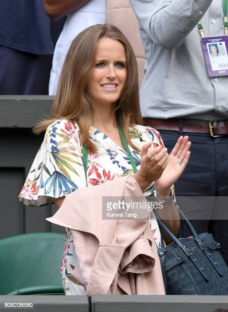 Kim Sears applauds after Andy Murray beats Sasha Bublik in the first round on the opening day of Wimbledon 2017 on July 3 2017 in London England