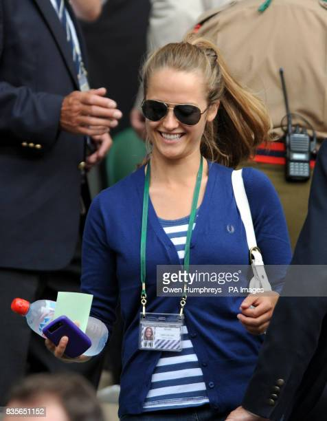 Kim Sears arrives on Centre Court to watch Great Britain's Andy Murray in action against USA's Andy Roddick during the Wimbledon Championships at the...