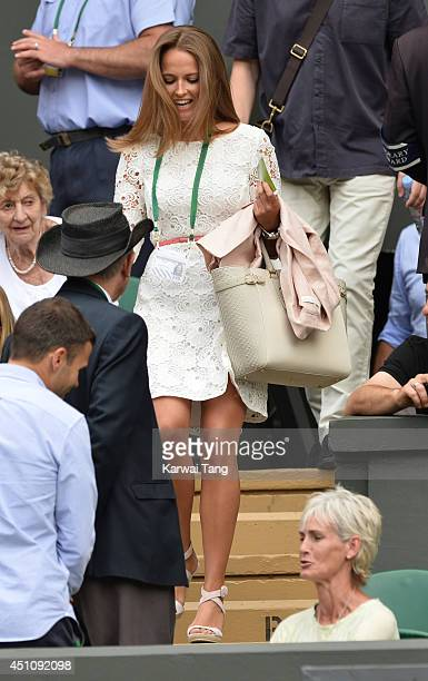 Kim Sears attends the Andy Murray v David Goffin match on centre court during day one of the Wimbledon Championships at Wimbledon on June 23 2014 in...