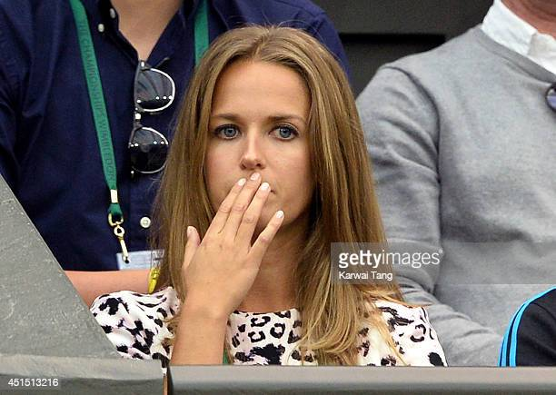 Kim Sears attends the Andy Murray v Kevin Anderson match on centre court during day seven of the Wimbledon Championships at Wimbledon on June 30 2014...