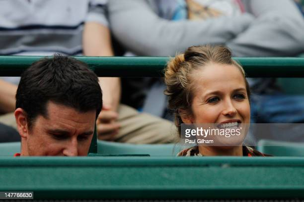 Kim Sears attends the Gentlemen's Singles fourth round match between Andy Murray of Great Britain and Marin Cilic of Croatia on day eight of the...