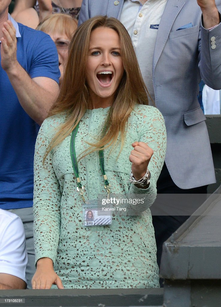 Kim Sears attends the Men's Singles Final between Novak Djokovic and Andy Murray on Day 13 of the Wimbledon Lawn Tennis Championships at the All England Lawn Tennis and Croquet Club on July 7, 2013 in London, England.