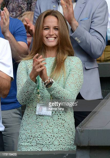Kim Sears attends the Mens Singles Final on Day 13 of the Wimbledon Lawn Tennis Championships at the All England Lawn Tennis and Croquet Club on July...