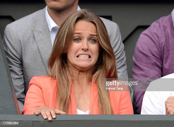 Kim Sears celebrates after Andy Murray beat Fernando Verdasco on Day 9 of the Wimbledon Lawn Tennis Championships at the All England Lawn Tennis and...