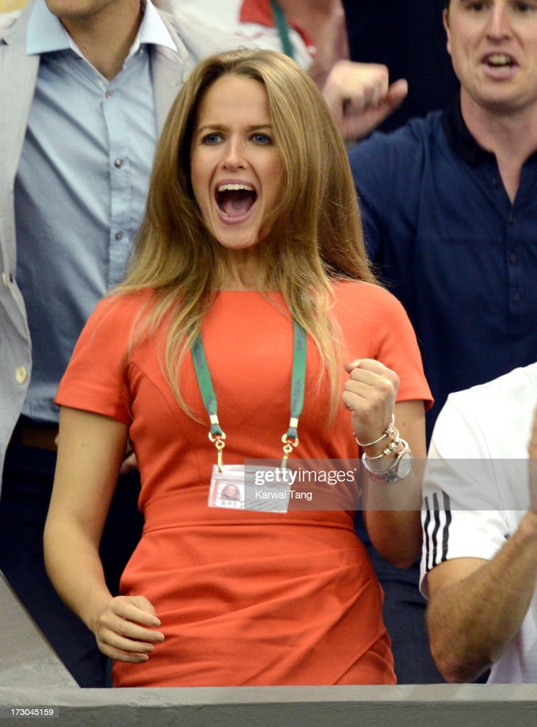 Kim Sears celebrates after Andy Murray beat Jerzy Janowicz on Day 11 of the Wimbledon Lawn Tennis Championships at the All England Lawn Tennis and Croquet Club on July 5, 2013 in London, England.
