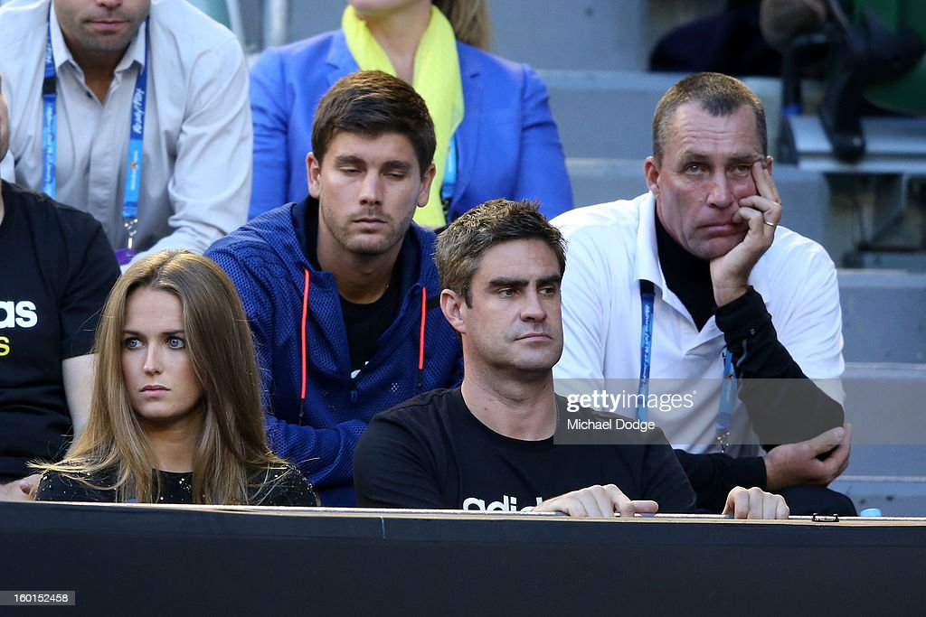 Kim Sears (L), girlfriend of Andy Murray and Ivan Lendl (R) coach of Andy Murray watch the mens final between Andy Murray of Great Britain and Novak Djokovic of Serbia during day fourteen of the 2013 Australian Open at Melbourne Park on January 27, 2013 in Melbourne, Australia.