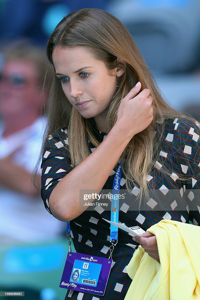 Kim Sears, girlfriend of Andy Murray of Great Britain, arrives to watch his Quarterfinal match against Jeremy Chardy of France during day ten of the 2013 Australian Open at Melbourne Park on January 23, 2013 in Melbourne, Australia.
