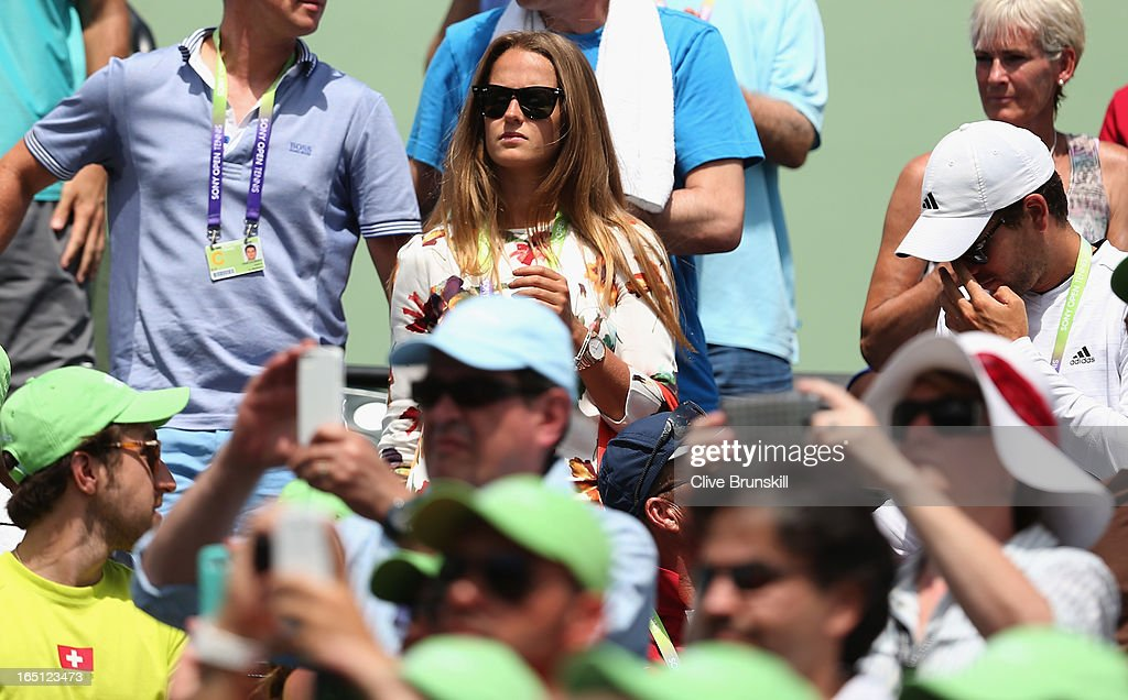 Kim Sears girlfriend of Andy Murray of Great Britain looks on from the crowd after his three set victory against David Ferrer of Spain during their final match at the Sony Open at Crandon Park Tennis Center on March 31, 2013 in Key Biscayne, Florida.