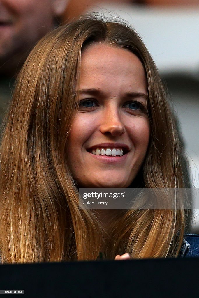 Kim Sears, girlfriend of Andy Murray of Great Britain, watches the men's fourth round match between Andy Murray of Great Britain and Gilles Simon of France during day eight of the 2013 Australian Open at Melbourne Park on January 21, 2013 in Melbourne, Australia.