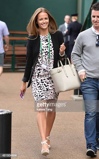 Kim Sears makes her way to the Andy Murray v Kevin Anderson match on centre court during day seven of the Wimbledon Championships at Wimbledon on...