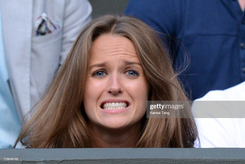 Kim Sears reacts during the Andy Murray vs Jerzy Janowicz match on Day 11 of the Wimbledon Lawn Tennis Championships at the All England Lawn Tennis and Croquet Club on July 5, 2013 in London, England.