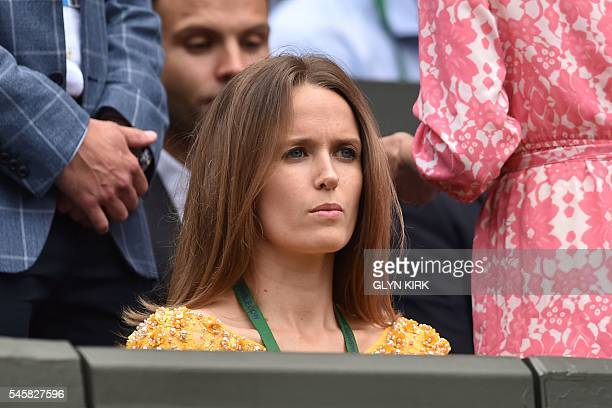 Kim Sears the wife of Britain's Andy Murray waits for the start of the men's singles final match on the last day of the 2016 Wimbledon Championships...