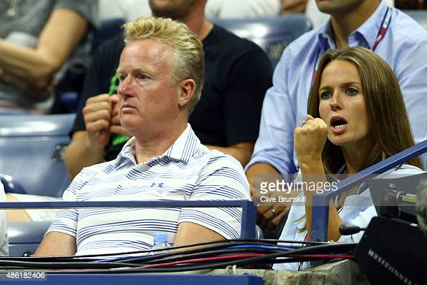 Kim Sears watches as Nick Kyrgios of Australia plays against her husband Andy Murray of Great Britain in their Men's Singles First Round match on Day...