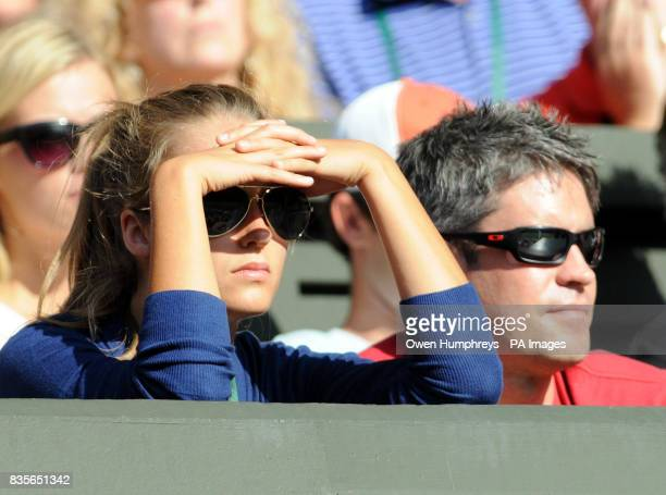 Kim Sears watches during the Wimbledon Championships at the All England Lawn Tennis and Croquet Club Wimbledon London