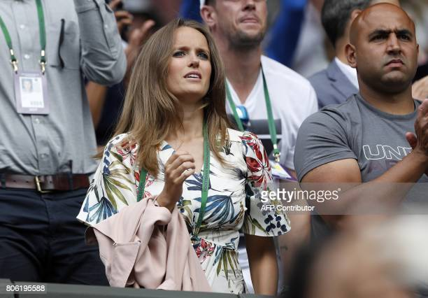 Kim Sears wife of Britain's Andy Murray reacts after he won against Kazakhstan's Alexander Bublik during their men's singles first round match on the...