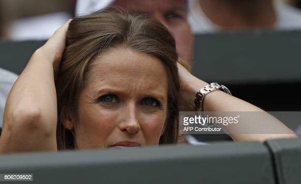 Kim Sears wife of Britain's Andy Murray watches as he plays against Kazakhstan's Alexander Bublik during their men's singles first round match on the...