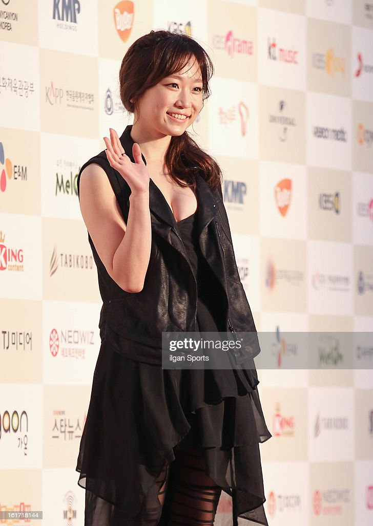 Kim Seul-Gi poses for photographs upon arrival during '2nd Gaonchart K-pop Awards' at Olympic Hall on February 13, 2013 in Seoul, South Korea.