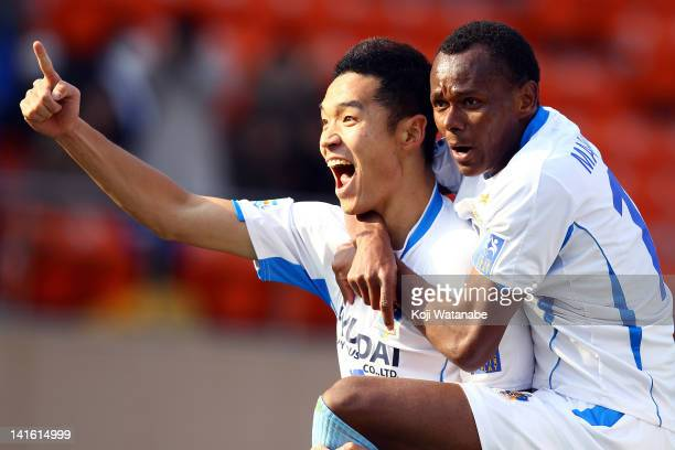 Kim Seung Yong of Ulsan Hyundai FC celebrate the first goal with team mate Maranhao during during the AFC Champions League group F match between FC...