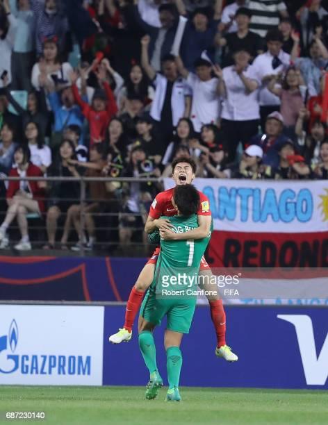 Kim Seungwoo of Korea Republic and Ha Seungho of Korea Republic celebrate after Korea Repbulic defeated Argentina during the FIFA U20 World Cup Korea...