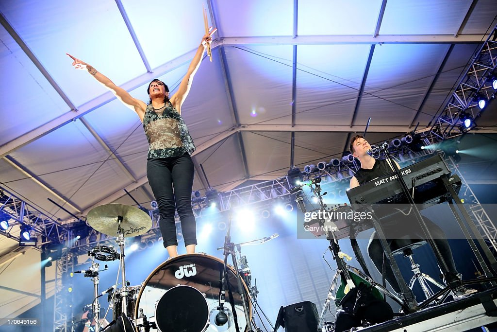 Kim Shifino (L) and Matt Johnson of Matt & Kim perform in concert during day 3 of the 2013 Bonnaroo Music & Arts Festival on June 15, 2013 in Manchester, Tennessee.