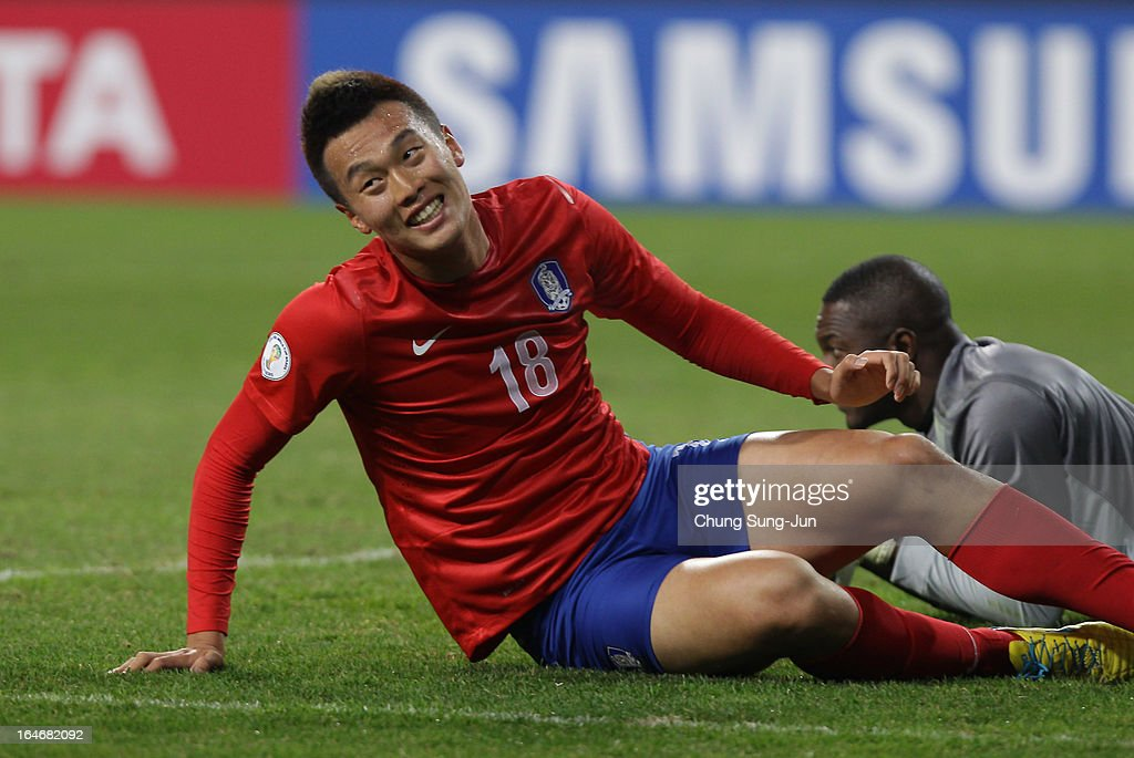 Kim Shin-Wook of South Korea reacts during the FIFA World Cup Qualifier match between South Korea and Qatar at Olympic Stadium on March 26, 2013 in Seoul, South Korea.