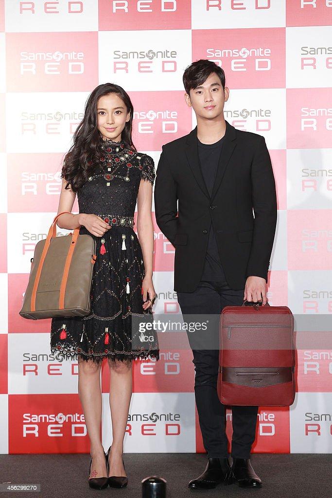 Kim Soo Hyun And Angelababy Attend Samsonite Promotion