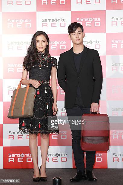 Kim Soo Hyun and Angelababy attend commercial activity of Samsonite on September 28 2014 in Hong Kong Hong Kong