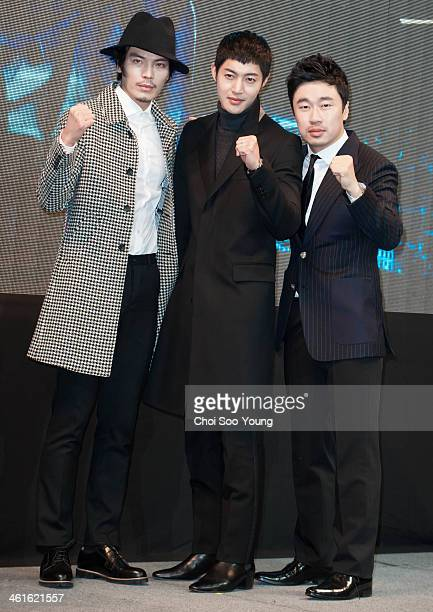 Kim SoungO Kim HyunJoong and Jo DalHwan pose for photographs during the KBS 2TV drama 'Generation of Youth' press conference at Imperial Palace on...