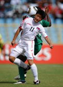 Kim Su Gyong of North Korea in action during the FIFA U17 Women's World Cup match between Nigeria and North Korea at the Hasley Crawford Stadium on...