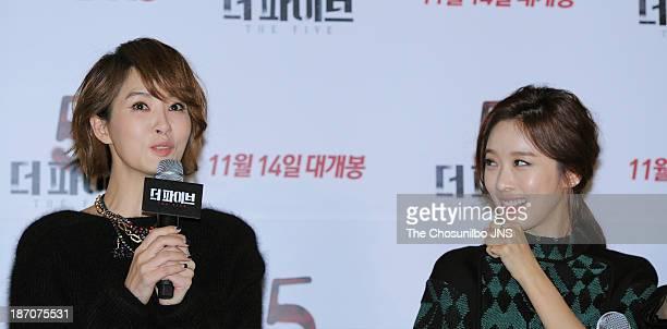 Kim SunA and Lee ChungAh attend the 'The Five' press conference at Wangsimni CGV on November 5 2013 in Seoul South Korea