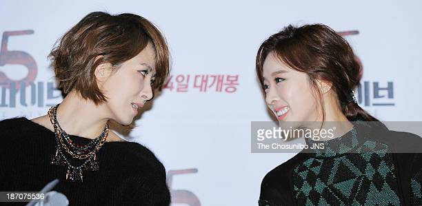 Kim SunA and Lee ChungAh attend the 'The Five' press conference at Wangsimni CGV on November 5 2013 in Seoul South Korea