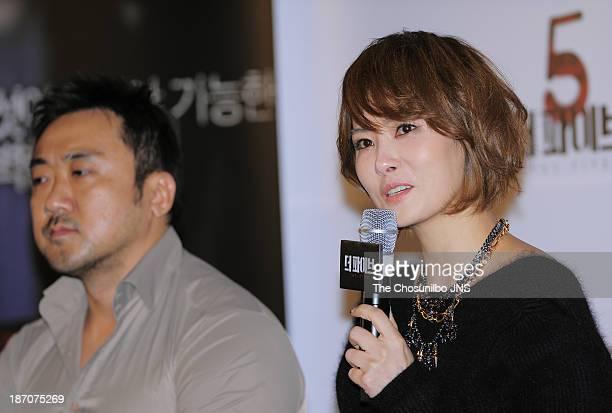 Kim SunA attends the 'The Five' press conference at Wangsimni CGV on November 5 2013 in Seoul South Korea