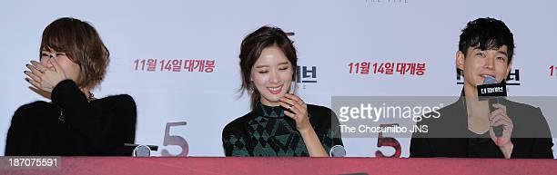 Kim SunA Lee ChungAh and On JooWan attend the 'The Five' press conference at Wangsimni CGV on November 5 2013 in Seoul South Korea
