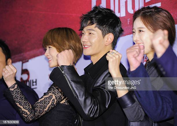 Kim SunA On JooWan and Lee ChungAh attend the 'The Five' VIP press screening at Wangsimni CGV on November 8 2013 in Seoul South Korea