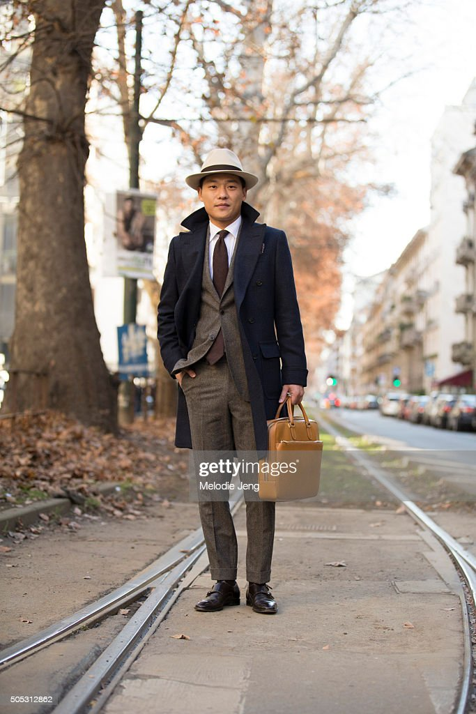 Kim Sung Soo wears a Suitsupply suit during the Milan Men's Fashion Week Fall/Winter 2016/17 on January 16, 2016 in Milan, Italy.