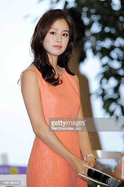 Kim TaeHee attends the Elastine Picnic With Kim Tae Hee at Seungsudong EMart on June 4 2012 in Seoul South Korea