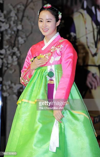 Kim TaeHee attends the SBS Drama 'Jang OkJeong' press conference at the MVL Kintex on April 1 2013 in Goyang South Korea