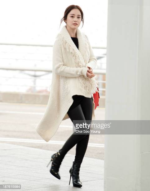 Kim TaeHee is seen at Incheon International Airport on November 6 2013 in Incheon South Korea