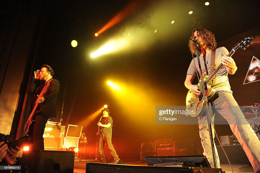 Kim Thayil, <a gi-track='captionPersonalityLinkClicked' href=/galleries/search?phrase=Chris+Cornell&family=editorial&specificpeople=221615 ng-click='$event.stopPropagation()'>Chris Cornell</a> and Ben Shepherd of Soundgarden perform in support the bands' King Animal release at The Fox Theatre on February 12, 2013 in Oakland, California.