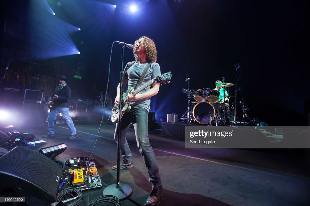 Kim Thayil, Chris Cornell and Matt Cameron of Soundgarden perform in concert at The Fillmore on January 27, 2013 in Detroit, Michigan.